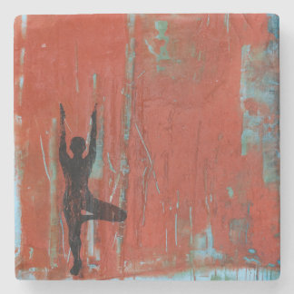 Tree Pose Yoga Girl Stone Coaster