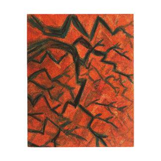 tree red black wood wall art