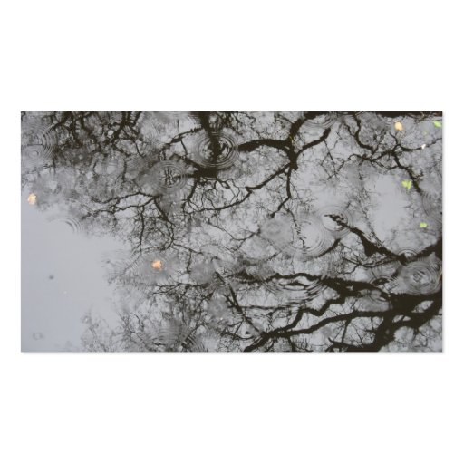 Tree Reflections & Rain in Water Photo Card Business Card Template