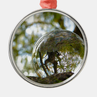 Tree seen through a crystal ball Silver-Colored round decoration