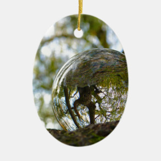 Tree seen through a crystal ball ceramic oval decoration