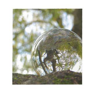 Tree seen through a crystal ball notepads