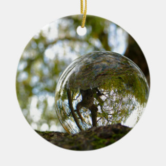 Tree seen through a crystal ball round ceramic decoration