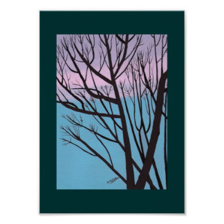 Tree silhouette against fall evening sky Print
