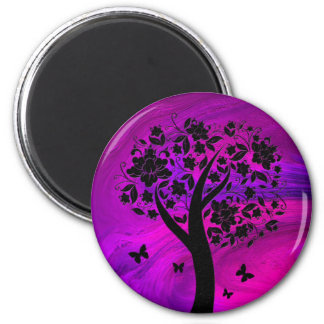Tree Silhouette and Butterflies Abstract Art 6 Cm Round Magnet