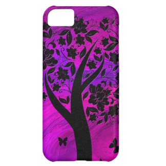 Tree Silhouette and Butterflies Abstract Art iPhone 5C Covers