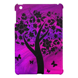 Tree Silhouette and Butterflies Abstract Art Cover For The iPad Mini