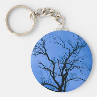 Tree Silhouette, Blue - Key Chain