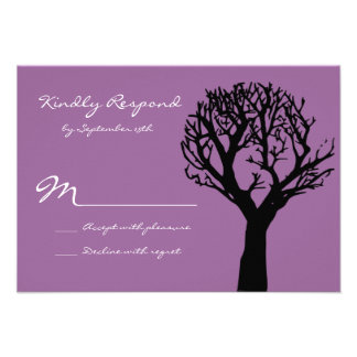 Tree Silhouette Country Purple Wedding RSVP Cards