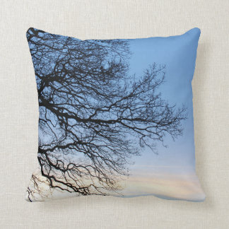 Tree Silhouette in a Blue Winters Sky Cushion