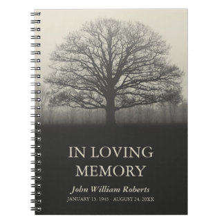 Tree Silhouette In Loving Memory Guestbook Notebook