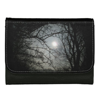 Tree silhouette leather wallet for women