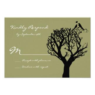 Tree Silhouette Love Birds Sage Wedding RSVP Cards