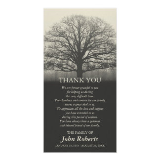 Tree Silhouette Memorial Service Thank You Photo Cards