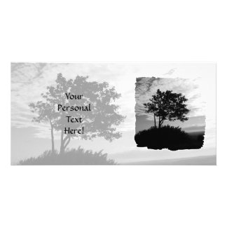 Tree Silhouette Monochrome Customised Photo Card