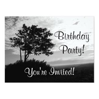 Tree Silhouette Monochrome Personalized Invites