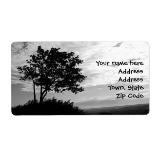 Tree Silhouette Monochrome Shipping Label