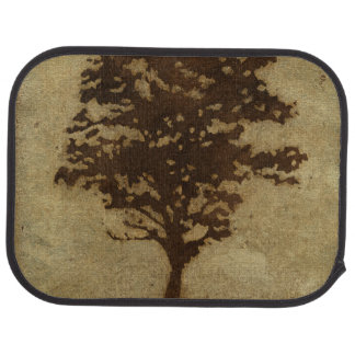 Tree Silhouette on Bronze Background Car Mat