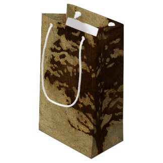 Tree Silhouette on Bronze Background Small Gift Bag