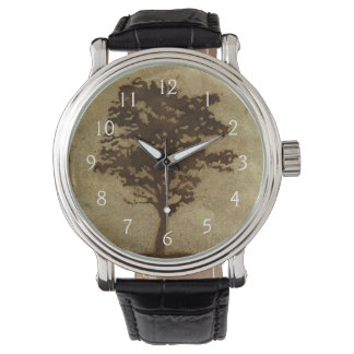 Tree Silhouette on Bronze Background Watch