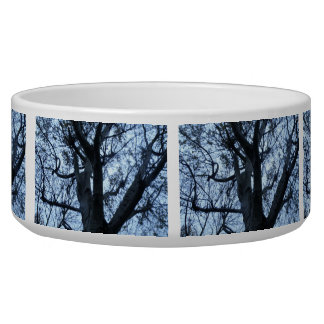Tree Silhouette Photograph Dog Bowl