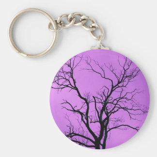 Tree Silhouette, Purple - Keychain