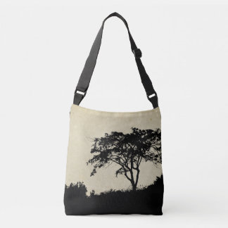 Tree Silhouette, Rustic Landscape Trees Grassy Tote Bag
