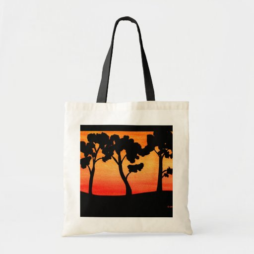 Tree Silhouette Watercolor Canvas Bags