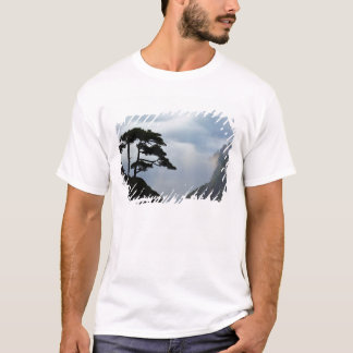 Tree silhouetted at sunrise, Yellow Mountain, T-Shirt