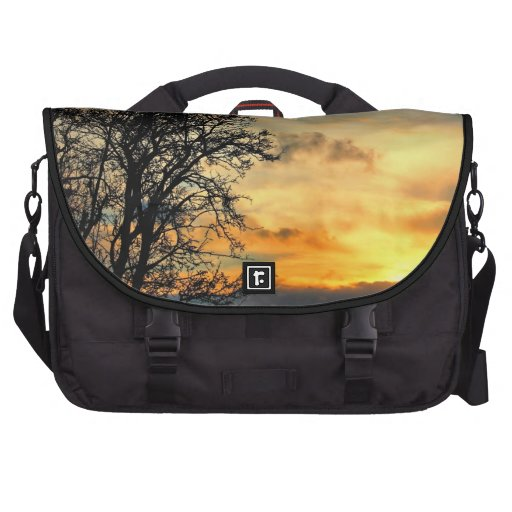 Tree Silhouettes at Sunset Laptop Bags
