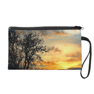 Tree Silhouettes at Sunset Wristlet