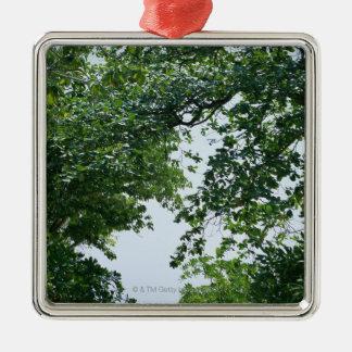 Tree Silver-Colored Square Decoration