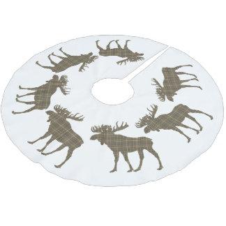 Tree skirt Christmas brown plaid moose
