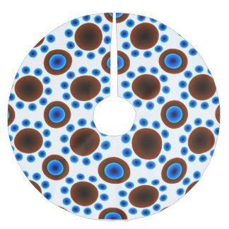 Tree skirt Christmas retro blue brown dots Brushed Polyester Tree Skirt