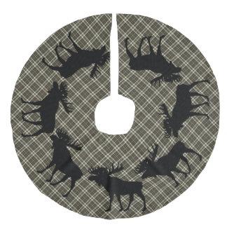 Tree skirt  Country Christmas brown plaid moose