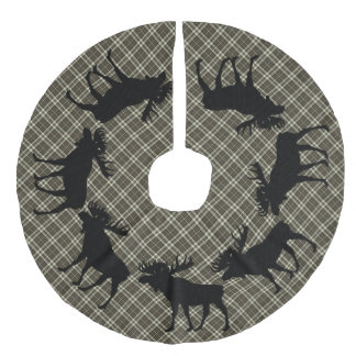 Tree skirt  Country Christmas brown plaid moose Faux Linen Tree Skirt
