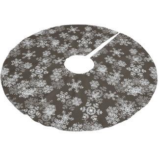 Tree Skirt-Snowflakes-Brown Brushed Polyester Tree Skirt