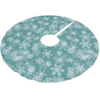 Tree Skirt-Snowflakes-Teal Brushed Polyester Tree Skirt