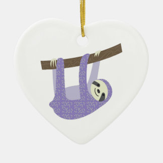 Tree Sloth Ceramic Heart Decoration