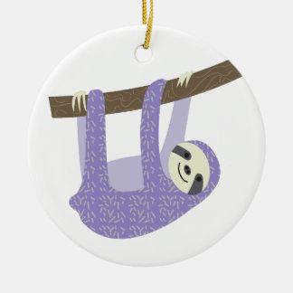 Tree Sloth Round Ceramic Decoration