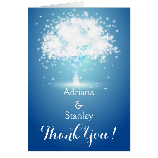 Tree & sparkling lights blue wedding Thank You Card