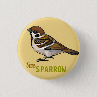 tree sparrow 3 cm round badge