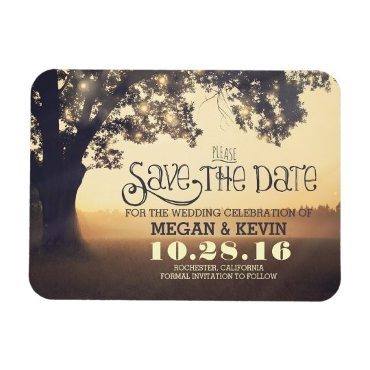 Tree String Lights Enchanted Evening Save the Date Rectangular Photo Magnet