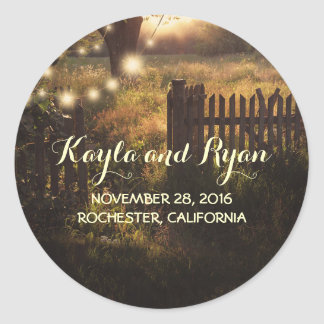 Tree String Lights Rustic Country Wedding Round Sticker