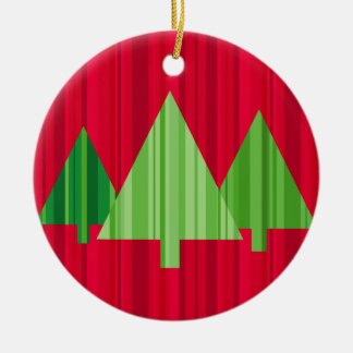 Tree Stripes Christmas Ornament Round