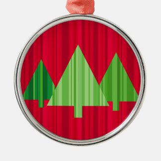 Tree Stripes Christmas Ornament Round w/Ribbon
