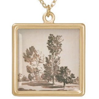 Tree Study (pen & ink on paper) Square Pendant Necklace