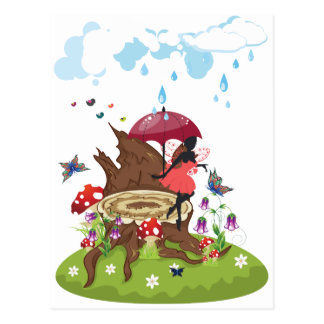 Tree Stump and Fairy Postcard