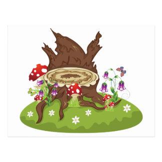 Tree Stump and Mushrooms Postcard