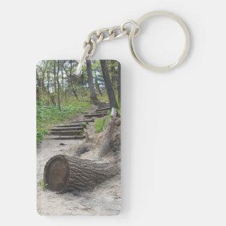 Tree Stump Trail Double-Sided Rectangular Acrylic Key Ring